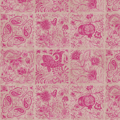 Palace Garden | Jaipur Pink Woodblock Tile fabric by forest&sea on Spoonflower - custom fabric