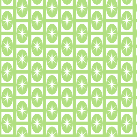 Stardust retro - green 1950 retro fabric design fabric by andibird on Spoonflower - custom fabric