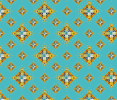 Deco Diamonds turquoise fabric by joanmclemore on Spoonflower - custom fabric