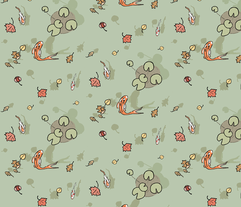 koi pond fabric by doodleandhoob on Spoonflower - custom fabric