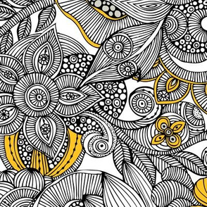 Doodles black and yellow