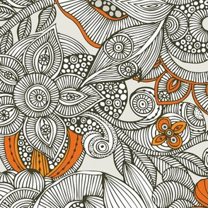 Doodles dark grey and orange