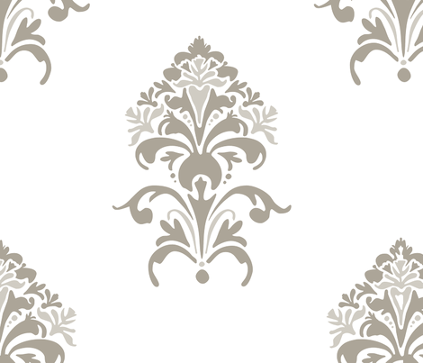 Tuscan Floral - mushroom fabric by katphillipsdesigns on Spoonflower - custom fabric