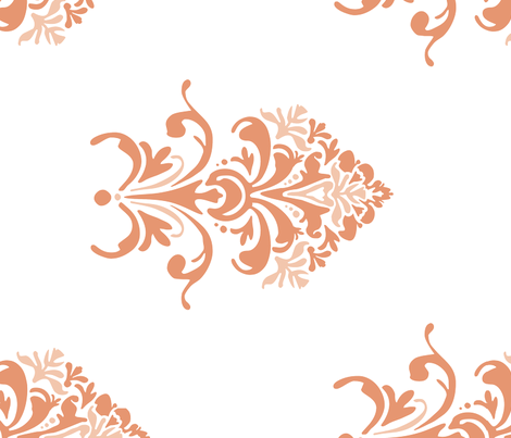 Tuscan Floral in coral - railroaded fabric by katphillipsdesigns on Spoonflower - custom fabric