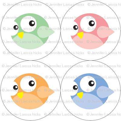 Round Birdie Ornaments