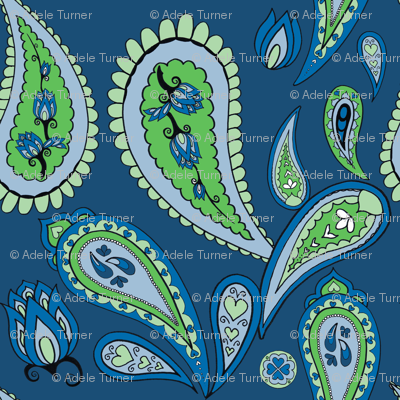 paisley in blues