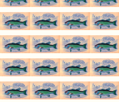 Vintage Small Mouth Bass fabric by pojeda on Spoonflower - custom fabric