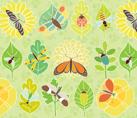 Insects, Leaves & Flowers fabric by kayajoy on Spoonflower - custom fabric