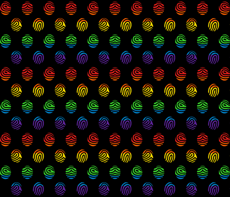 Rainbow fingerprints on black fabric by elsielevelsup on Spoonflower - custom fabric