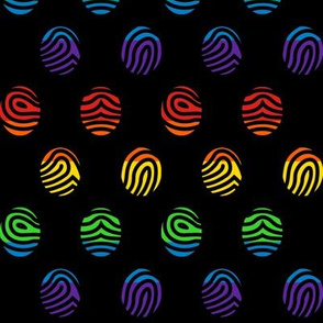 Rainbow fingerprints on black