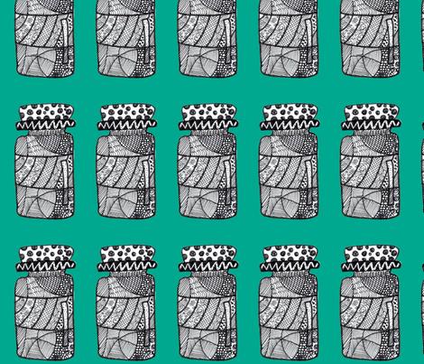 doodled jar emerald green fabric by mimi&me on Spoonflower - custom fabric