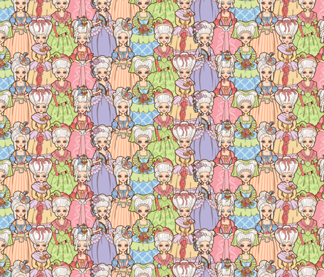 Rococo Ladies Small fabric by jillianmorris on Spoonflower - custom fabric