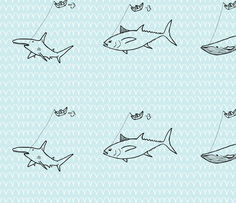 Fishing Big Fishes fabric by plastessina on Spoonflower - custom fabric