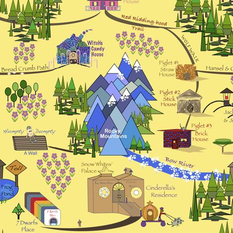 Fairy Tale Map 2 fabric by petals_fair_(peggy_brown) on Spoonflower - custom fabric
