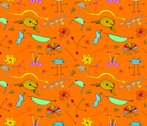 "Imaginary Creatures Collection: Tossed Creatures On an Orange Background - 11"" x 9"" repeat, 300 dpi fabric by creative8888 on Spoonflower - custom fabric"
