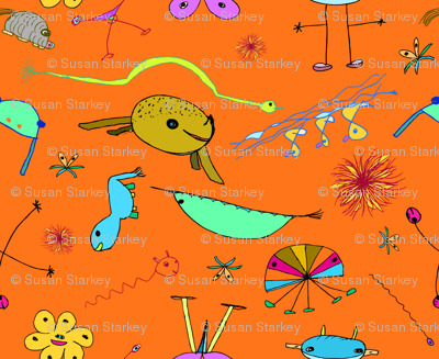 """Imaginary Creatures Collection - Tossed Creatures on Orange - 11"""" x 9"""" repeat"""