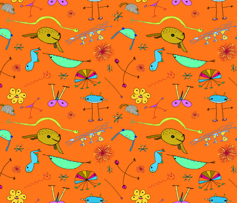 """Imaginary Creatures Collection - Tossed Creatures on Orange - 11"""" x 9"""" repeat fabric by creative8888 on Spoonflower - custom fabric"""