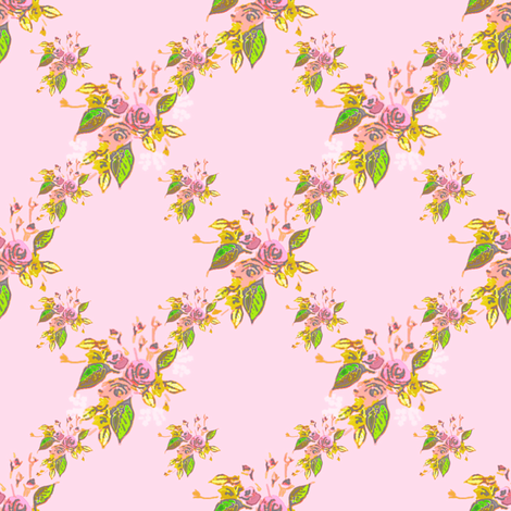 Roses in pink with diamond format fabric by joanmclemore on Spoonflower - custom fabric