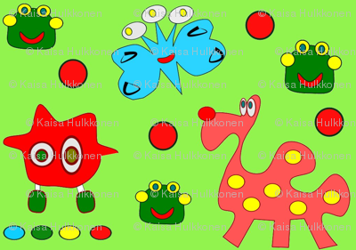 Imaginary friends with green background