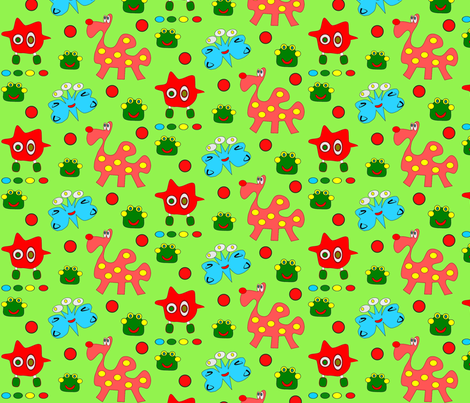 Imaginary friends with green background fabric by 7monsters_t_inc on Spoonflower - custom fabric