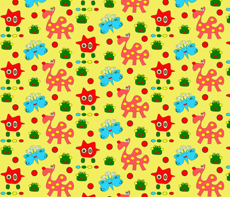 Imaginary friends for imaginary animal contest fabric by 7monsters_t_inc on Spoonflower - custom fabric