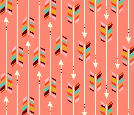 Large Arrows: Coral fabric by nadiahassan on Spoonflower - custom fabric