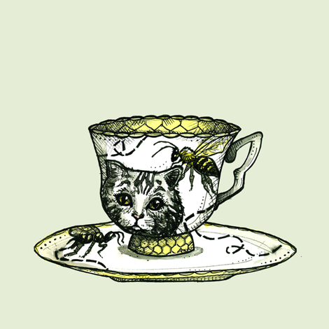 Bee and Kitty Teacup fabric by taraput on Spoonflower - custom fabric