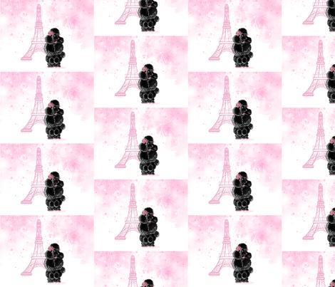 Black French Poodle Pink Eiffel tower fabric by greerdesign on Spoonflower - custom fabric