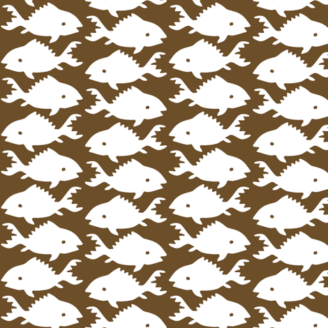 Fishes-1-white--BROWN fabric by mina on Spoonflower - custom fabric