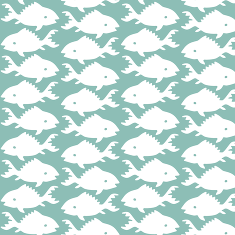 Fishes-1-white-MINAGREEN fabric by mina on Spoonflower - custom fabric