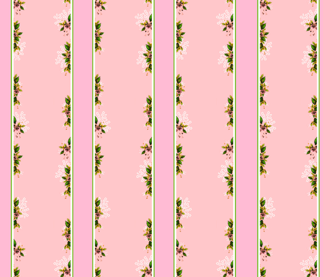 Roses Stripes and Floral Vines fabric by joanmclemore on Spoonflower - custom fabric