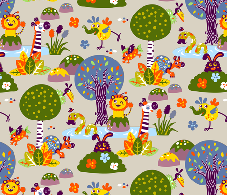 Fantasy friends (Please zoom in ^^) fabric by irrimiri on Spoonflower - custom fabric