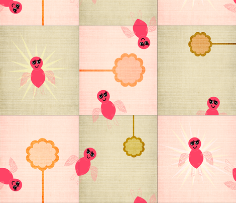 Pipi and the Flower fabric by the_lovely on Spoonflower - custom fabric