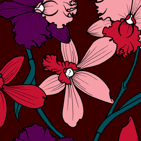 Orchids Squid Ink fabric by jadegordon on Spoonflower - custom fabric