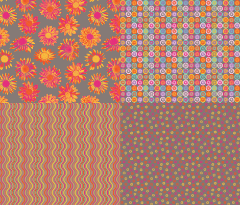 Fun Daisy Coordinates - 4-in-1 collection fabric by coloroncloth on Spoonflower - custom fabric