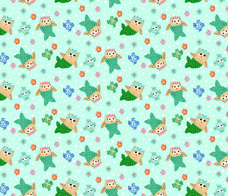 Mer_Owls_and_Chicken_Fish fabric by beebumble on Spoonflower - custom fabric