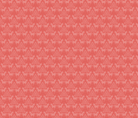 unicorn damask in coral fabric by juliannlaw on Spoonflower - custom fabric