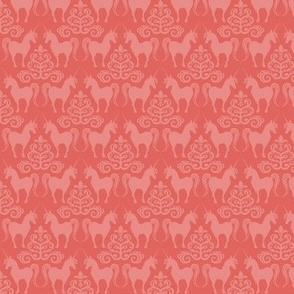 unicorn damask in coral