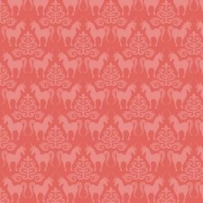unicorn damask in coral