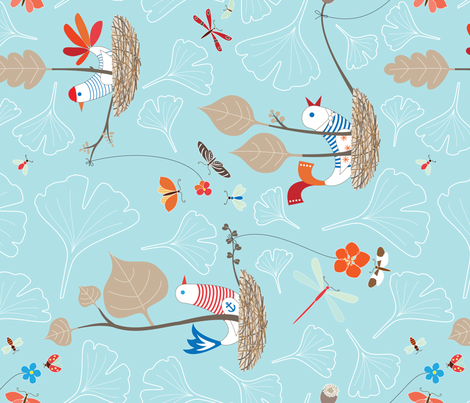 Lunchtime at the Lazy Bird Colony fabric by kayajoy on Spoonflower - custom fabric