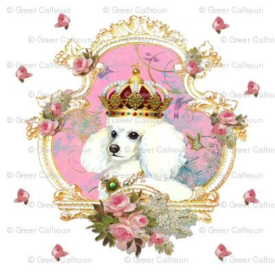 White Poodle n Pink Roses