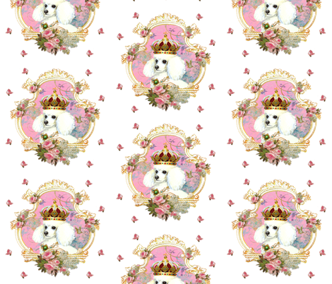 White Poodle n Pink Roses fabric by greerdesign on Spoonflower - custom fabric