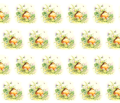 Baby Robin and Violets fabric by greerdesign on Spoonflower - custom fabric