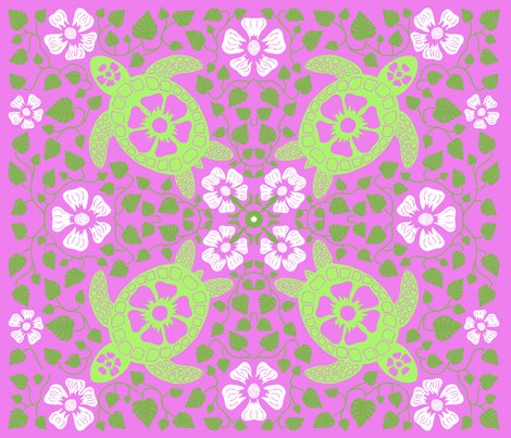 Rrrrhawaiian_quilt_v10_white_flowers_on_turtle_rectangle_greens_and_pink.ai_shop_preview