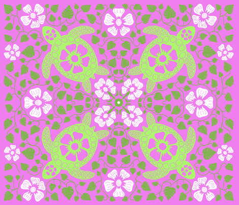 Kauai Turtles - Greens and a Different Pink fabric by coloroncloth on Spoonflower - custom fabric