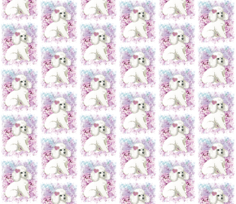 White Poodle n Lilacs Portrait fabric by greerdesign on Spoonflower - custom fabric