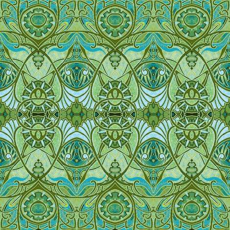 Victorian Gothic (pale green negative) fabric by edsel2084 on Spoonflower - custom fabric