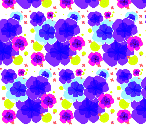 In Full Bloom - Purple Spray fabric by lottiefrank on Spoonflower - custom fabric