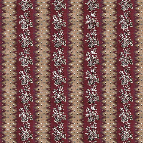 Maroon & Flowers Stripe fabric by the_cornish_crone on Spoonflower - custom fabric