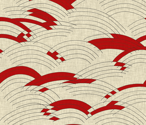cloud_line_linen_red fabric by holli_zollinger on Spoonflower - custom fabric